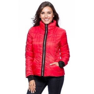 Halifax Traders L Red Down Feather Puffer Jacket
